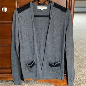 2 for $12.  LOFT gray cardigan with lace d…